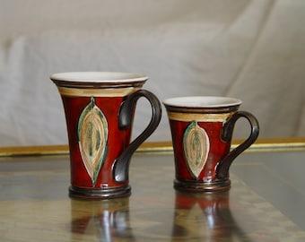 Red Ceramic Cup. Clay Cup, Coffee Cup, Pottery Teacup, Tea Cup, Cute Mug, Unique Mug, Handmade Pottery, Espresso Cup, Danko Pottery