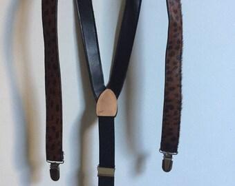 Vintage Animal Print Leopard Cheetah Suspenders // Faux Fur Leather Black Brown Suspenders