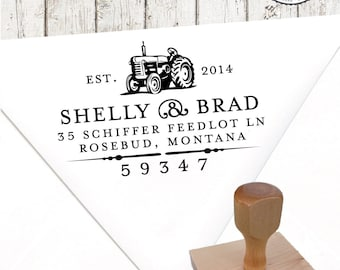 Return Address Stamp – 1.25 x 2 in TRACTOR – Personalized Wedding Paper Goods