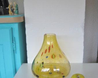 Spatter Glass, Hand Blown Glass, Mystery Vase, Vintage