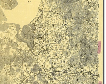 Reproduction of a Vintage Map of Shenzhen, China from 1931 - Fantastic Photo Poster Print - Old Archive Cartography
