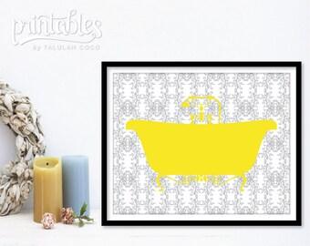 Customizable Bathroom Art - Bathtub Print - Vintage Bath Tub Wall Art - Yellow Bathroom Decor - Shower Art Print - Bath Sign Printable Decor