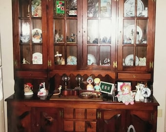 Solid Wood Break Front China Cabinet - PICKUP ONLY! - In Beautiful Condition
