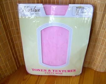 """Vintage 80's """"KORLUS TEXTURED SANDALFOOT """" Pantyhose Pink Size MEDiUM Bridal Nylons"""