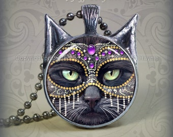 KM3 Purple and Silver Masked Black Cat pendant