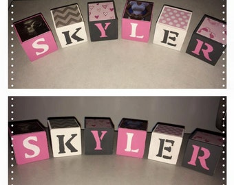 "1"" Wooden Blocks, Baby Blocks, Name, Personalized, Custom"