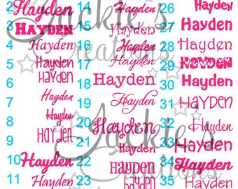 Personalized Name Decals- DIY- Size in Inches is Referring to the Length of Name-Can be used on any smooth surface!