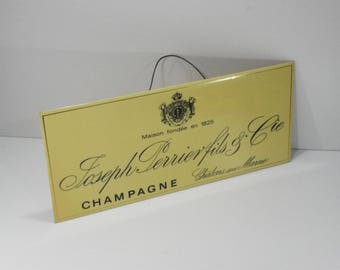 french Champagne Joseph Perrier Vintage Wall Hanging Shop Advertising Cole, french Bistro