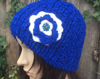 READY TO SHIP Blue cobalt women set / hat and cowl women set/ blue cobalt hat / blue cobalt cowl / scarf / gift