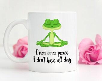 Yoga Coffee Mug, Frog Coffee Cup, College Student Gift, Yoga Mug, Cute Frog Mug, Funny Coffee Mugs, Gift for Yoga Lover, Cute Coffee Mugs