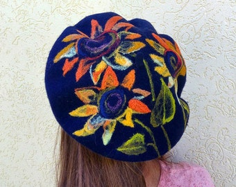 Dark blue French beret French wool beret French felt beret with flowers Wool beret with sunflowers Felt hat with flowers Women woolen beret