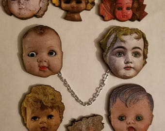 Doll head, Doll brooches, Doll head clips, Doll head jewelry, Creepy, Creepy brooch, Horror, Horror jewelry