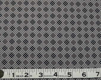 Item 177,  Penelope Plaid, Grey and Black, 100% Cotton Fabric, By the Yard