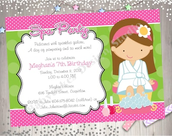 Spa Party Birthday Invitation Invite Spa Day Spa Birthday Party Invitation Party Printable CHOOSE YOUR GIRL
