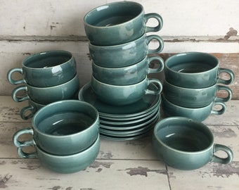 Vintage Russel Wright Steubenville Seafoam Blue Cups and Saucers - Choice