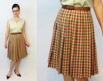 """1960s Skirt / 60s Skirt / Bobbie Brooks / Plaid Skirt / Pleated Skirt / Vintage Skirt / 1950s Skirt / 50s Skirt / Secretary Skirt / W 27"""""""