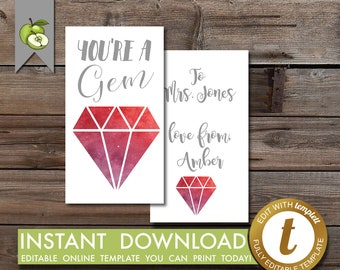 editable Jewelry gift tag, jewel tag, gem tag, you're a Gem, Teacher Appreciation, Gift Tag, printable, Mother's Day tag, birthday tag
