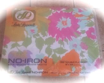 Vintage Sheet / Double Full Flat Sheet / Spring Floral / Flower Design / Cotton  Poly Blend / NOS Bedding / NIP Retro Sheet