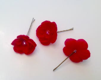 Red Rose Hair Pins - Set of 3 - Flower Hair Pins Wedding Hair Pins Prom Hair Pins -  Set of 3 small red rose hair pins