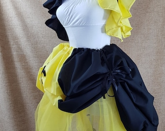 Witch Wizard Half And Half Yellow And Black Bustle Skirt-One Size Fits All