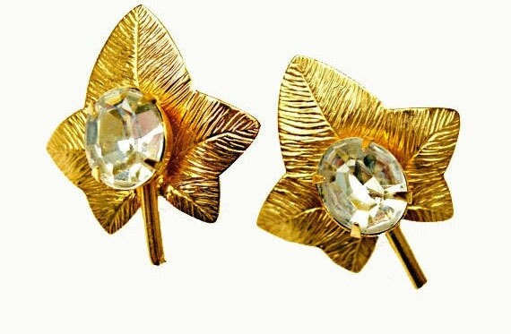 Leaf Earrings - Gold  Clear Crystal Rhinestone  mid century clip on earring