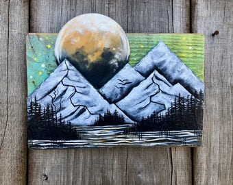 Mountain Lake Painting on Reclaimed Wood and Slate