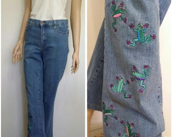 NYDJ jeans, M, L, embroidered jeans, stretch jeans, boot leg jeans, novelty top, frogs