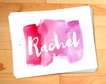 Girls Notecards, Watercolor Notes, Kids Thank you Cards, Script, Typography, Custom Thank You Notes, Personalized Notecards, Set of 24