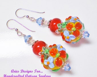 Bright Chili Red and Blue Floral Lampwork Earrings