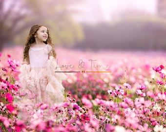 Digital Background / Digital Backdrop / Meadow / Flower Field x 2 - Instant Download