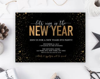 New Years Eve Invitation, New Years Invitation, New Years Invitation Cheers, New Years Eve, NYE Invitation, NYE, Gold NYE Invitation [701]