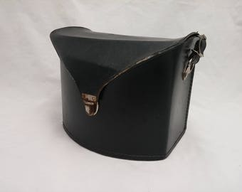 Vintage Faux Black Leather Camera Case - Made in USA - Chrome Hardware - Patinaed lock, Great Steampunk look and appeal, Large storage area
