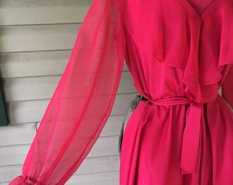 Woolite Vintage 1970s Dress - Pink, size 6