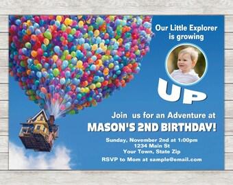 Disney Up Birthday Invitation, Up Birthday Invitation - Digital File (Printing Services Available)