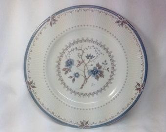 Vintage Royal Doulton England Old Colony Porcelain Salad Dessert Blue Plate Dish Flower Brown Trim TC 1005
