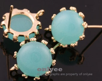 1pair/2pcs-10mm Gold plated Brass,Faceted Round Glass Earring, post earrings-Mint(M340G-A)
