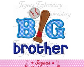 Instant Download Big Brother With Baseball Applique Machine Embroidery Design NO:1512