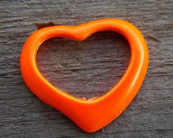 4 Orange Enamel Heart Charms 39mm Open Heart Pendant