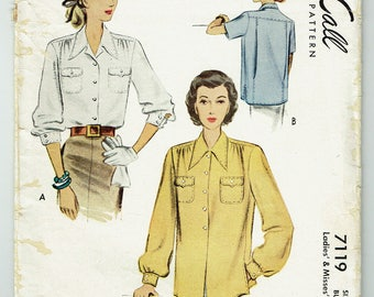 "Vintage Sewing Pattern 1940s Blouse Pattern McCall 7119 32"" Bust - Free Pattern Grading E-book Included"