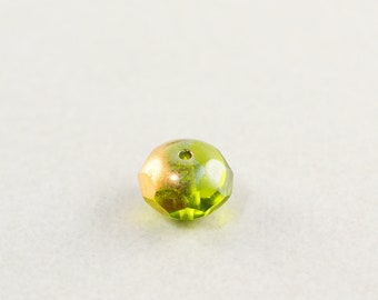 Green Copper Accent Beads, Czech Glass, 9mm GlassBeads, One