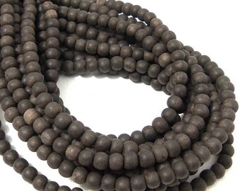 Unfinished Ebony Wood Bead, 4mm - 5mm, Near Black to Dark Brown, Round, Small, Natural Wood Bead, 16 Inch Strand - ID 2354