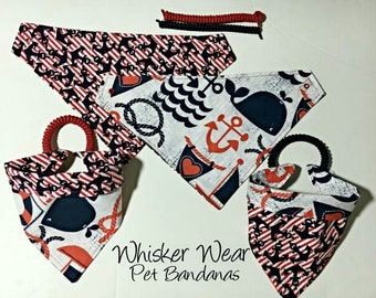 nautical wear, reversible dog scarf, dog bandana, pet scarf, pet bandana, pet attire, pet clothing,summer, reversible, anchor, whales