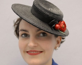 The Beaux Hat - Stylish Races Hat - Black Boater w/ 1940s Vintage Red Cherries & Flower Detail