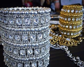 Crystal/ rhinestone/ cuff bracelet/ bracelet/ rhinestone bracelet/ cuff/ kundan jewelry