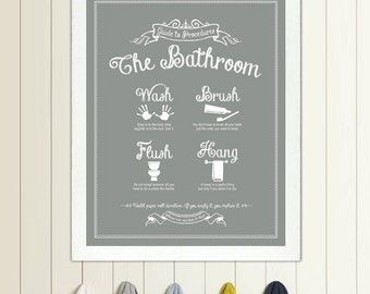 Bathroom Pictures To Hang. Guide To Procedures The Bathroom 11x14 Print Bathroom Rules Sign Vintage Decor Art Wall Wash Brush Flush Hang