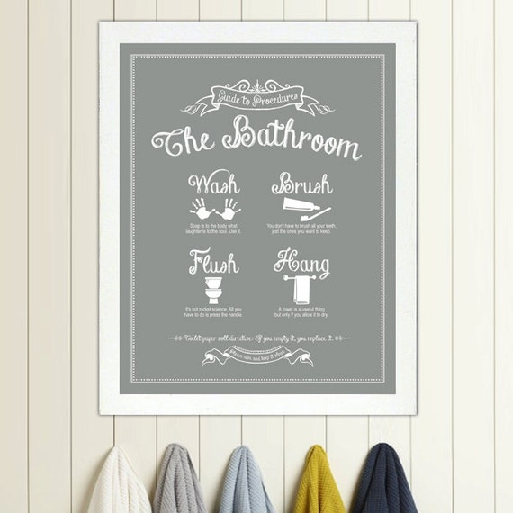 Guide to Procedures The Bathroom print Bathroom Rules