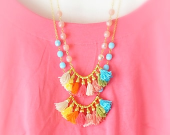 Ethnic Long Necklace - Bib Tribal Necklace - Tassel Boho Necklace - Multi Color Tassels - Fringe Necklace - Free Shipping - Gift Box