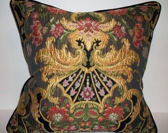 Aubusson Tapestry Lampossa Chenille Pillow with Stark Black Velvet for reverse. Down Feather insert included.