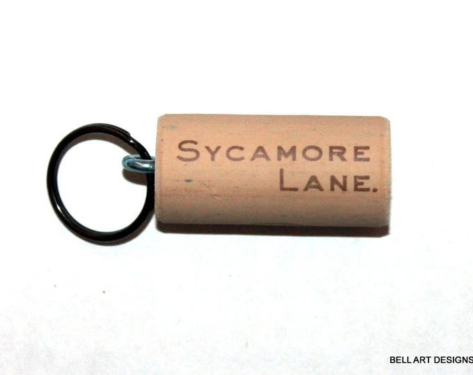 WINE CORK KEYCHAIN, Sycamore Lane, Floating, Multiple Key, Bell Art Designs, KC0225