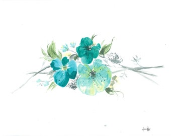 Teal floral & branches - Spring Floral